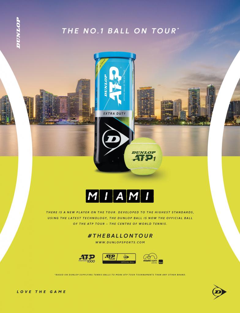 Dunlop, pelota y raqueta oficial del Miami Open