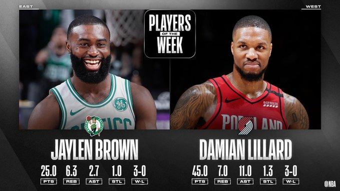 Damian Lillard y Jaylen Brown jugadores de la semana en la NBA